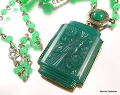 Art Deco Molded Green Glass Bird Necklace, sold by worn2perfection on Etsy
