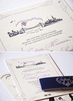 letterpress wedding invitation card