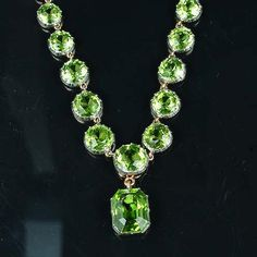A late 19th century peridot necklace,