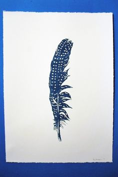 Turquoise Feather Screenprint