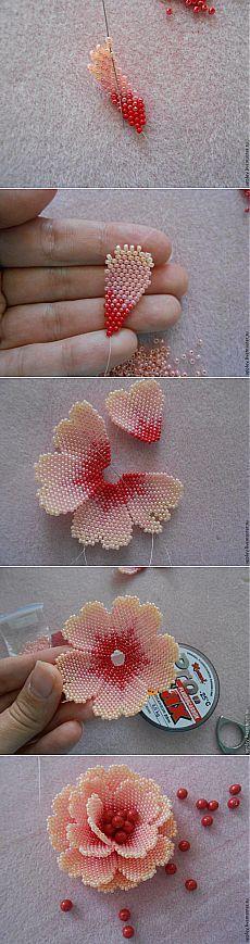 Как сделать маленький цветок из бисера - Ярмарка Мастеров - ручная работа, handmade