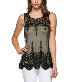 Black Sheer Lace Sleeveless Top