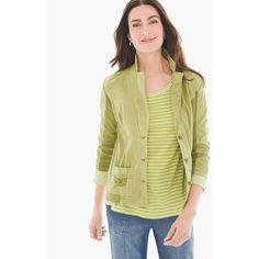 Chico's Zenergy Rita Ribbed 3/4-Sleeve Blazer featuring polyvore, women's fashion, clothing, outerwear, jackets, blazers, green oasis, 3/4 sleeve jacket, green jacket, beige blazer, blazer jacket and three quarter sleeve jacket