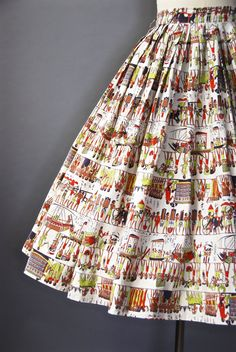 1950's Novelty Print Skirt Egyptian Print Skirt