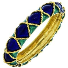 Preowned Peacock Enamel Gold Bracelet ($7,403) ❤ liked on Polyvore featuring jewelry, bracelets, bangles, multiple, gold hinged bangle, gold jewelry, hinged bracelet, gold bangles and gold hinged bracelet