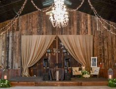 Wedding reception barn, wedding décor, reception décor, dj stage...Barn wedding and reception venue in Alabama whiteacresfarms.com