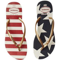 Havaianas Slim Stars and Stripes Sandal (White/Navy) Women's Sandals ($32) ❤ liked on Polyvore featuring shoes, sandals, flip flops, slim shoes, flexible shoes, navy sandals, havaianas flip flops and star shoes