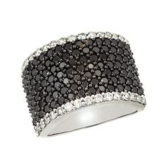 Effy Jewelry Effy Caviar 14K White Gold Black and White Diamond Ring,... ($4,500) ❤ liked on Polyvore