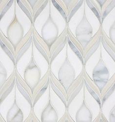 Plumage Mosaic - Milk gloss Ceramic, Stratus Matte Ceramic, Calacatta Honed Stone - Custom combinations available - @ ADR