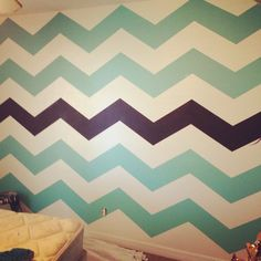 My chevron wall diy, complete with chalkboard stripe. @cody borgman Price