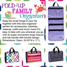 Keep all the small things in your life together with the NEW Fold-Up Family Organizer! Check it out @ https://www.mythirtyone.com/michellehmeador/collection/summer-style?page=1