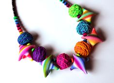 Short Necklaces – Clothes and Skeins Polymer Clay Necklace – a unique product by Silvia-Ortiz-de-la-Torre on DaWanda