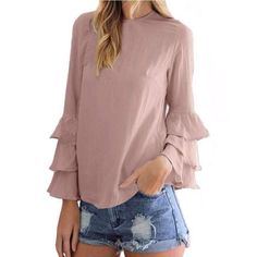 DeRuiLaDy Women Elegant Butterfly Sleeve Chiffon Tiered Blouse Shirt Autumn Female Long Sleeve O-Neck Blouses Casual Loose Tops Dresses For Less, Bell Sleeve Blouse, Loose Tops, Plus Size Blouses, Street Style Women, Blouses For Women, Long Sleeve Tops, Ideias Fashion, Sleeves