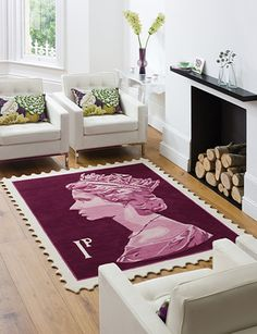 teppich briefmarkenform von stamp rug lila
