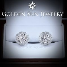 GOLDEN SUN JEWELRY: Diamond pave set halo earrings that feature a bezel set 1.50ct. Round brilliant cut diamond. @goldensunjewelry #goldensunjewelry #earrings #wedding #bride #bridal #marriage #married #diamond #diamonds #designer #diamondearrings #studs #solitaire #fashion #flawless #fashionista #gia #haute #jewelry #l4p #lavish #luxury #bling #halo #couture #bespoke #certified #pave