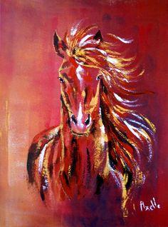 Tableau d'un cheval au galop dans le vent @peintures-axelle-bosler : Peintures par peintures-axelle-bosler