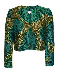 African Print Ankara Kitenge Jacket Blazer Fair True Teal Cropped Print Jacket