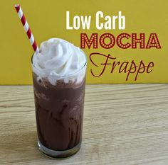 1 Chocolate Atkins Shakes 1 tblsp heavy cream 1 tsp instant coffee whipped cream  (optional for garnish) sugar free syrup (optional for garnish) Place pour half of the shake into an ice cube tray and freeze. Add the frozen shake cubes, regular shake, heav