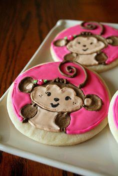 girly monkey cookies