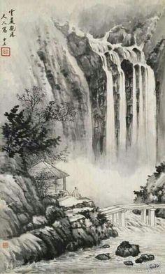 """宋美龄 作品 《云岩观瀑》 --- 上世纪50年代,宋美龄迷上了中国画,拜国画大师黄君壁、张大千等为师,画兰、画竹、画山水,几达废寝忘食境界。为了学画,她还常常到台北的""""故宫博物院""""中借出名画观摩、学习。这位政治舞台上风云一时的传奇女性,在绘画方面也是颇具修养的。"""