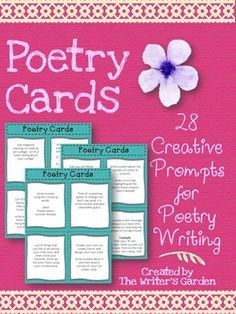 28 Poetry Writing Task Cards  to celebrate National Poetry Month or the culmination of your poetry unit!  Each card has a different poetry prompt along with a drawing or art activity for students to complete along with their poem. Directions:Print the cards on white cardstock, laminate, and cut.Decorate a Poetry Box for your cards and place in your classroom for students to choose from daily, once a week, or as a creative writing assignment for your early finishers.
