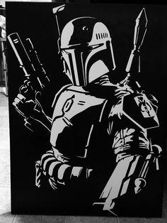 Etsy の Airbrushed Boba Fett painting by StoneHeartStudio Star Wars Silhouette, Silhouette Art, Star Wars Drawings, Art Drawings, Sketch Manga, Gravure Laser, Star Wars Tattoo, Vintage Halloween Decorations, Stencil Art