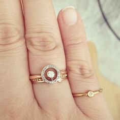 LE FASHION BLOG FAVORITE RINGS ENGAGEMENT RING DELICATE DAINTY SIMPLE THIN STACKED STACK RINGS DIAMONDS HALO PAVE PEAR DIAMOND VINTAGE YELLO...