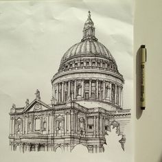 Finished - St. Paul's Cathedral in pen. #art #drawing #pen #sketch #illustration…