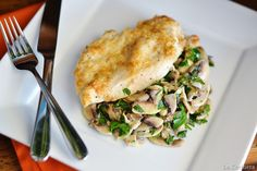 Pecorino-Crusted Chicken with Marinated Mushroom Salad -- both delicious, and fresh asparagus went very well alongside.