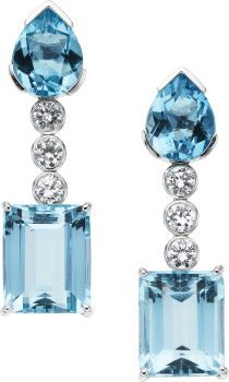 Aquamarine, Diamond, White Gold Earrings. ... (Total: 2 Items) | Lot #58941 | Heritage Auctions