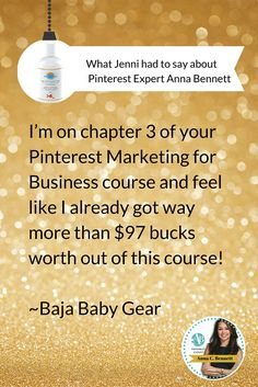 What @bbgorganicbaby   had to say about my Pinterest Marketing for Business Online Course! If you don't know where to start or want to learn how to set-up and operate your Pinterest account correctly for maximum success as quickly as possible you can receive Chapter 1 of my Pinterest Marketing for Business course for FREE to help you get started. http://www.whiteglovesocialmedia.com/pinterest-marketing-for-business/   | Pinterest marketing tips for business by Pinterest expert Anna Bennett