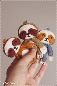 Felt Pocket Sloth doll brooch by PoCatFactory on Etsy