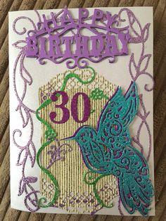 30th Birthday hummingbird card