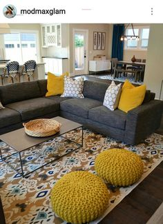 What about poufs or beanbags or somethingghe can roll around on as extra seating? Living room pop of - #graybedroomwithpopofcolor Sunken Living Room, Living Room Seating, Living Room Sofa, Small Living Rooms, Home Living Room, Modern Living, Modern Room, Simple Living, Living Room Decor Colors