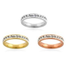 for these stunning Stainless Steel YRG 3 Ring Set with Swarovski Elements Size 7 (free ship. 316l Stainless Steel, Plating, Swarovski, Wedding Rings, Ship, Engagement Rings, Free, Jewelry, Fashion