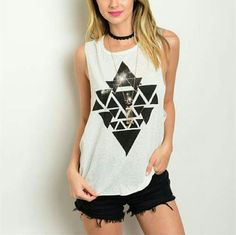 Tank Black and white triangle tank Tops Tank Tops