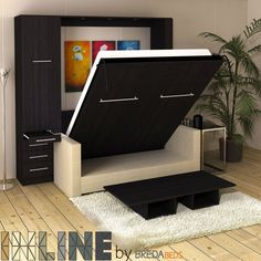 Inline Murphy Bed With Hutch And Sofa