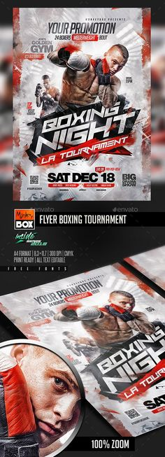 Buy Flyer Boxing Tournament by MonkeyBOX on GraphicRiver. Flyer Boxing Tournament: Easy-To-Edit Flyer Design Templates, Flyer Template, Event Poster Design, Poster Designs, Boxing Posters, Instagram Editing Apps, Flyer Free, Flyer Design Inspiration, Sports Flyer