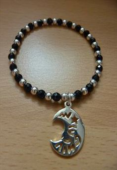 Sterling Silver & Onyx Bracelet with Moon Charm
