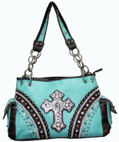 Turquiose Rhinestone Cross Cowgirl Purse