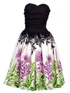 Hula Midi Dress with Lehua Print / Black / G1595b