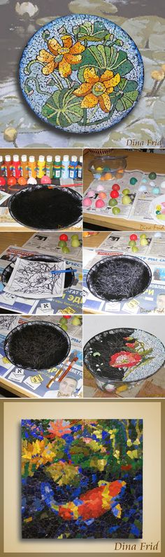 Eggshell-Mosaic- more ideas for egg shells www.ourdailyideas.com/diy-eggshell-mosaic-patterns/