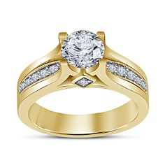 925 Sterling Silver 14k Yellow Gold Finish Simulated Diamond Engagement Ring. Starting at $1