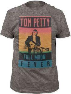 Tom Petty T-shirt - Tom Petty Full Moon Fever Album Cover Artwork   Men's Gray Vintage Shirt