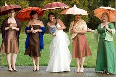 Different color bridesmaid dresses example with different style umbrellas - for summer or rainy day