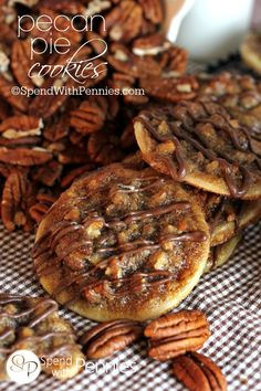 Pecan Pie Cookies start with a premade pie crust cookie topped w/ caramel-y pecans & a drizzle of chocolate! If you like Pecan Pie Bars, you'll love these!