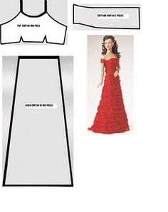 BARBIE DRESS MOLD ~ step-by-step directions ~ need to translate ~ very pretty evening gown ~ FREE