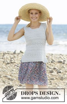 Miami Chill - Crocheted top in DROPS Muskat. Piece is crocheted with texture pattern. Size: S - XXXL - Free pattern by DROPS Design Knitting Patterns Free, Free Knitting, Free Crochet, Crochet Top, Crochet Patterns, Free Pattern, Drops Design, Miami, Crochet Design