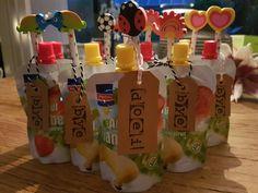 Afscheid kinderdagverblijf #knijpfruit #stempel #DIY #potlood