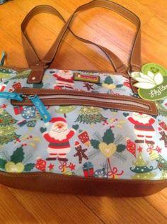 Lily-Bloom-Christmas-Tree-Double-Handles-Santa-Blues-Bag-R1114-NWT-Purse